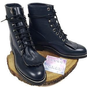 JUSTIN Roper Kilted Lace Up Boots
